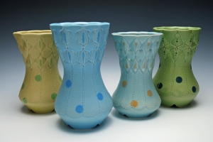 Kristen Kieffer Stamped dot vase grouping