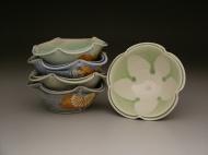 bowls 2007, salt-fired porcelain, decals