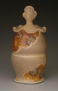 covered jar, salt-fired porcelain, decals