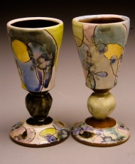 port wine cups, earthenware, decals 2003