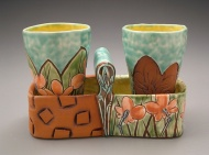 tumblers 2005, earthenware, decals
