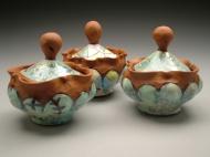 sugar jars 2004, earthenware, decals