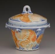 sugar jar 2007, salt-fired porcelain, decals