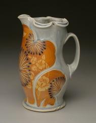pitcher, salt-fired porcelain, decals