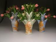 tulip vases 2007, salt-fired porcelain, decals