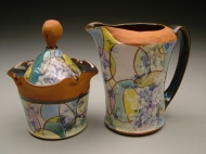 sugar and creamer 2003, earthenware, decals