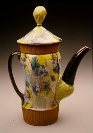 coffee pot 2003, earthenware, decals