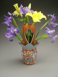 vase 2004, earthenware, decals