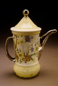 coffee pot 2003, porcelain, decals, luster