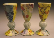 port wine cups 2003, porcelain, low-fire glazes
