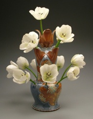 tulip vase 2006, salt-fired white stoneware, decals