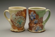mugs 2006, salt-fired white stoneware, decals