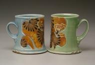 cups 2006, salt-fired white stoneware, decals