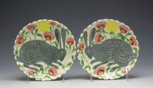 Grey Rabbits and Poppies Dessert Plates